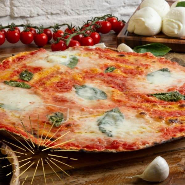 Roman pizza crispy charred edges creamy buffolo mozzerlla and italian toppings