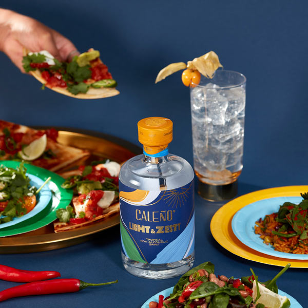 Caleno Light & Zesty Bottle and food